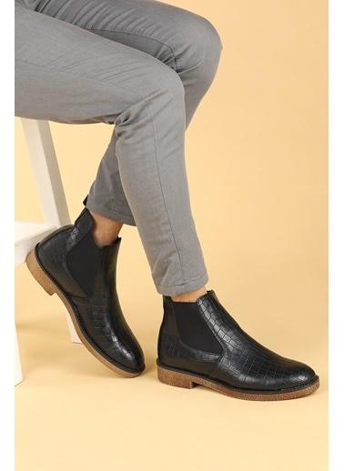 Ayakland Ayakland 5100 Kroko Termo Taban Erkek Bot Ayakkabı Siyah